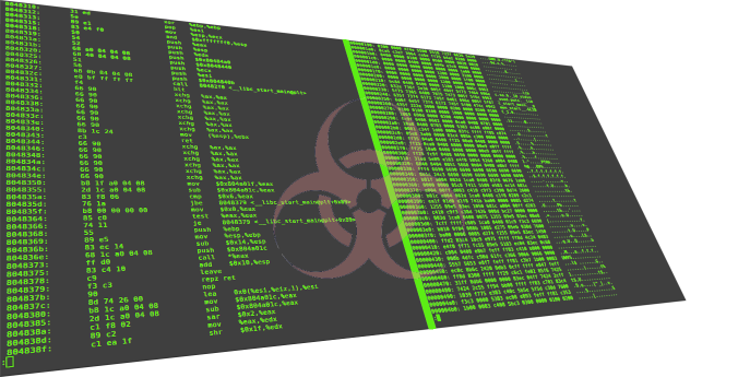 Biohazard symbol overlayed on some assembly code